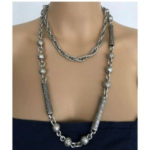 CHICO'S Silver & Black Chunky Heavy Link Necklace